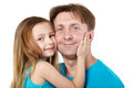 Little girl snuggle her cheek to father Royalty Free Stock Photo