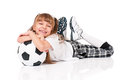 Little girl soccer ball lying floor isolated white background Royalty Free Stock Photos