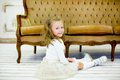 The little girl on a sofa Royalty Free Stock Photo