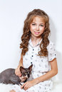 Little girl and sphinx cat Royalty Free Stock Photo