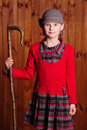 Little girl standing and shepherd holding a shepherd s staff farm Royalty Free Stock Photography