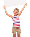 Little girl is standing on white background and holding white ca i can hold this piece of cardboard where could be your Stock Photography