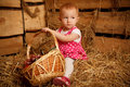 Little girl on straw with basket of fruit Royalty Free Stock Image