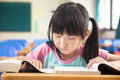 Little girl study alone in the classroom asian Royalty Free Stock Photo