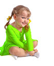 Little girl studying dance portrait of a has been dancing on a white background Royalty Free Stock Photo