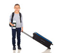 Little girl suitcase happy with large Royalty Free Stock Images