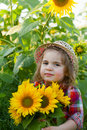 Little girl in a summer hat among sunflowers Royalty Free Stock Image