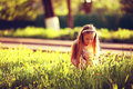 Little girl in summer  meadow Royalty Free Stock Photo
