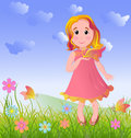 Little girl on summer meadow vector illustration Stock Photography