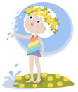 Little Girl and the summer rain Royalty Free Stock Photos