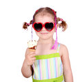 Little girl with sunglasses eat ice cream Royalty Free Stock Photo