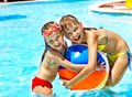Little girl swimming pool Royalty Free Stock Photo