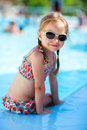 Little girl at swimming pool portrait of adorable Stock Images
