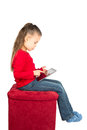 Little Girl with Tablet Computer Stock Photos