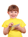 Little girl with tablet pc Royalty Free Stock Images