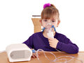 Little girl taking inhaled Royalty Free Stock Photo