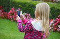 Little girl with taking photos Stock Photos