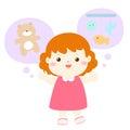Little girl talkative lively cartoon