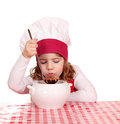 Little girl taste soup cook Royalty Free Stock Photos