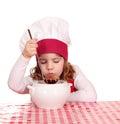 Little girl taste soup Royalty Free Stock Photo