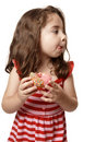 Little girl tasty sweet doughnut Royalty Free Stock Photography