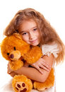 Little Girl And Teddy Bear Royalty Free Stock Photo