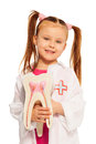 Little girl with tooth dummy playing dentist Royalty Free Stock Photo