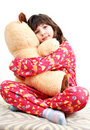 Little girl with toy bear Royalty Free Stock Image