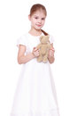 Little girl with toy bear Royalty Free Stock Photo
