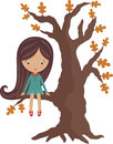 Little girl on a tree Stock Photos