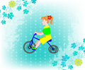 Little girl on a tricycle grunge background with polka dots and leaves Royalty Free Stock Image