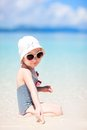Little girl at tropical beach Royalty Free Stock Images