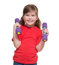 Little girl with two dumbbells Royalty Free Stock Photo