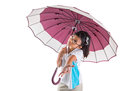 Little girl and umbrella ii malay asian with over white background Royalty Free Stock Photography