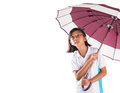 Little girl and umbrella iv malay asian with over white background Royalty Free Stock Images