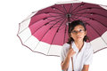 Little girl and umbrella ix malay asian with over white background Royalty Free Stock Image