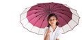 Little girl and umbrella vii malay asian with over white background Stock Photo