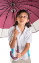 Little girl and umbrella viii malay asian with over white background Royalty Free Stock Photo