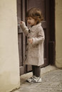 Little girl urban portrait Royalty Free Stock Photo