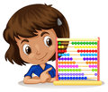 Little girl using abacus to count