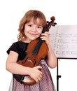 Little girl with violin posing Royalty Free Stock Photos