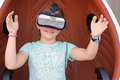 Little girl with vr headset