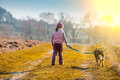 Little girl is walking with a dog Royalty Free Stock Photo