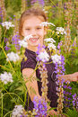 Little girl walks on blossoming meadow beautiful smiling in late summer Royalty Free Stock Photo