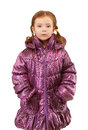 Little girl in warm winter jacket Stock Image