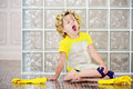 The little girl was cleaning the house Royalty Free Stock Photo