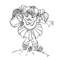 Little girl with watering can black and white illustration Stock Photos