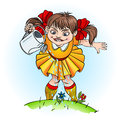 Little girl with watering can cartoon illustration on white background Stock Photography