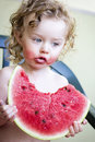 Little girl with watermelon toddler eating melon outdoor photo Stock Images