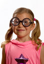 Little girl wearing big round glasses Royalty Free Stock Photos